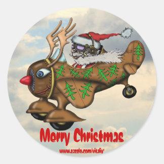 Funny Santa on Rudolph plane sticker design