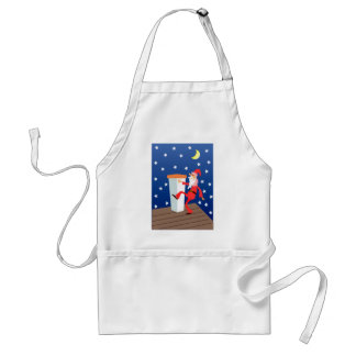 Funny Santa On The Roof Adult Apron