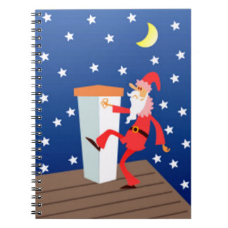 Funny Santa On The Roof Journal