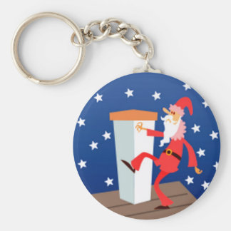 Funny Santa On The Roof Keychain