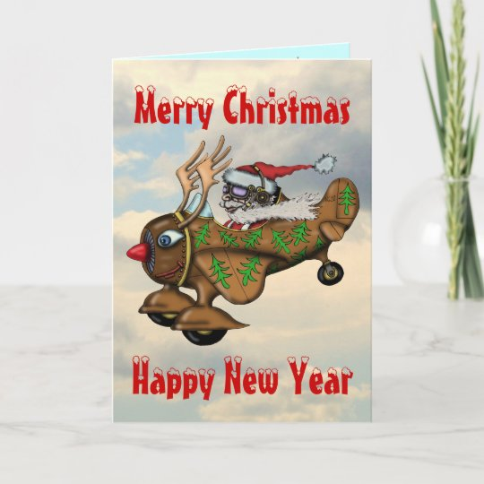 Funny santa pilot christmas and new year card zazzle funny santa pilot christmas and new year card m4hsunfo