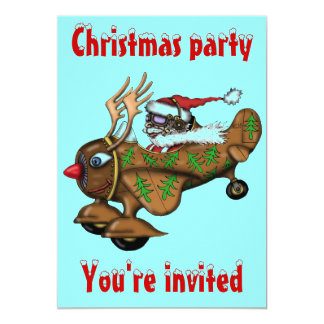 "Funny Santa pilot Christmas party invitation card 5"" X 7"" Invitation Card"