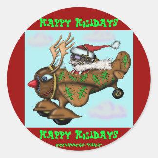 Funny Santa pilot on Rudolph plane sticker design