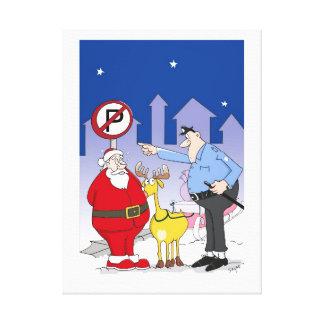 Funny Santa Police Officer Cartoon Canvas Print