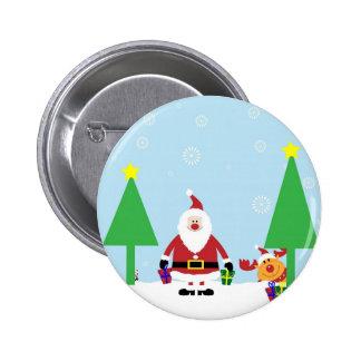 Funny Santa & Reindeer Pinback Button
