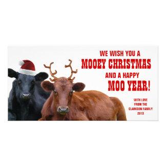 Funny Santa Reindeer Cows Christmas Beef Farm Card