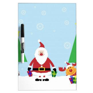 Funny Santa & Reindeer Dry Erase White Board