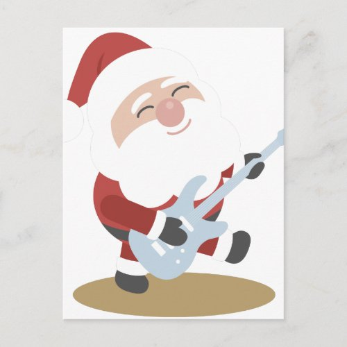 Funny Santa Rocker Musician Guitar Christmas Gift Holiday Postcard