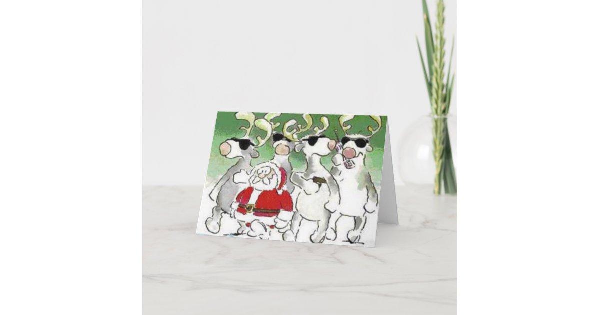Funny Santa Secret Service Reindeer Christmas Card | Zazzle.com