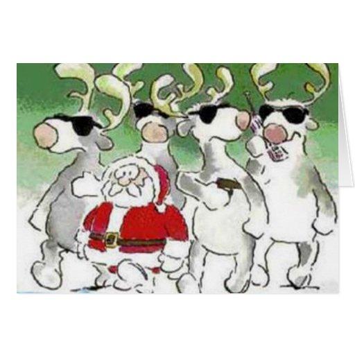 Funny santa secret service reindeer christmas card zazzle for Funny reindeer christmas cards