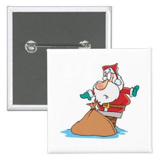 funny santa stuck in chimney cartoon button