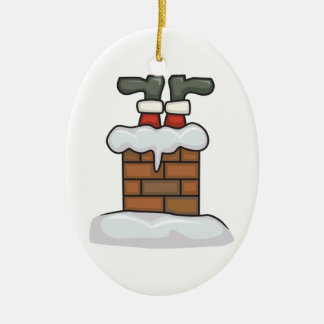 funny santa stuck in chimney ceramic ornament