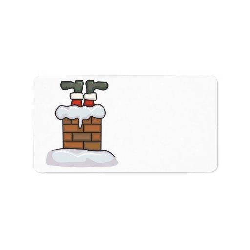 funny santa stuck in chimney label
