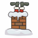 funny santa stuck in chimney photo sculpture ornament