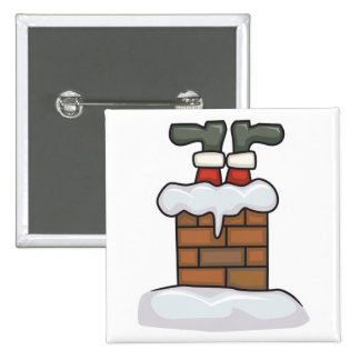 funny santa stuck in chimney pinback button