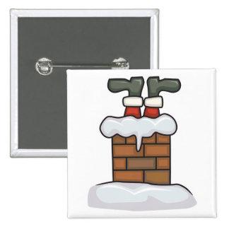 funny santa stuck in chimney pinback button