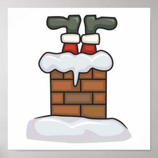 funny santa stuck in chimney poster