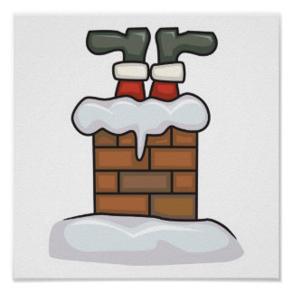 funny santa stuck in chimney posters