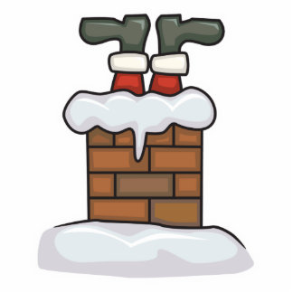 funny santa stuck in chimney statuette