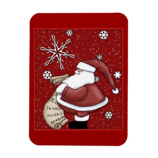 Funny Santa with list and flakes Magnet