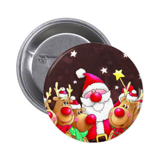 Funny Santa with reindeer 2 Inch Round Button