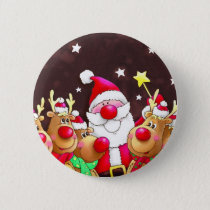 Funny Santa with reindeer Pinback Button