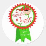 Funny Santa's Elf Christmas Round Sticker