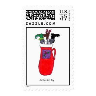 """Funny """"Santa's Golf Bag"""" Christmas Postage Stamp"""
