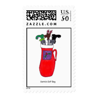 "Funny ""Santa's Golf Bag"" Christmas Postage Stamp"