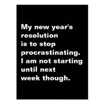 Funny Sarcastic New Year's Resolution Quote Postcard