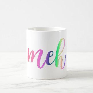 Funny sarcastic rainbow meh typography coffee mug