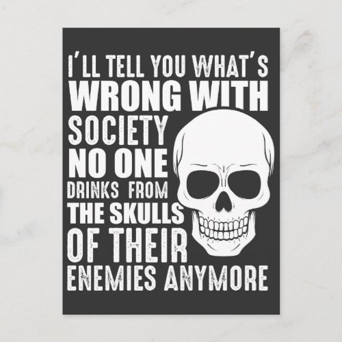 Funny Sarcastic Wrong Society Skull Enemy Blood Postcard