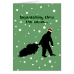 Funny Sasquatch Christmas Card Pulling Tree