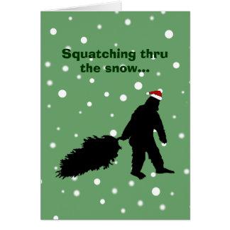 Funny Sasquatch Christmas Card Pulling Tree