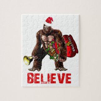 Funny Sasquatch Santa Claus Christmas Design Jigsaw Puzzle