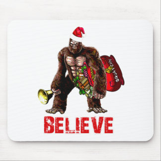 Funny Sasquatch Santa Claus Christmas Design Mouse Pad