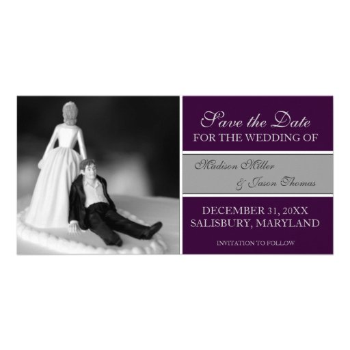 Funny Save the Date Announcements {Purple} Photo Card Template