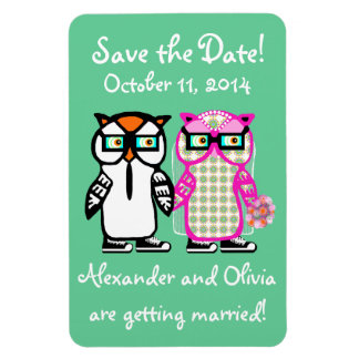 Funny Save the Date Bride & Groom Owls Magnet