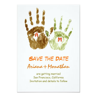 funny save the date invitation with hands