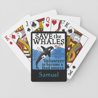 Funny Save the Whales Satire Spoof Playing Cards