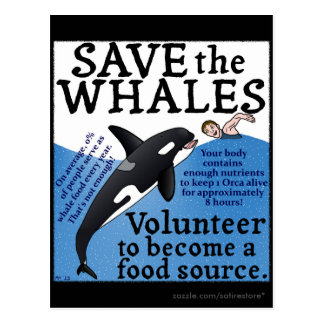 Funny Save the Whales Satire Spoof Postcard