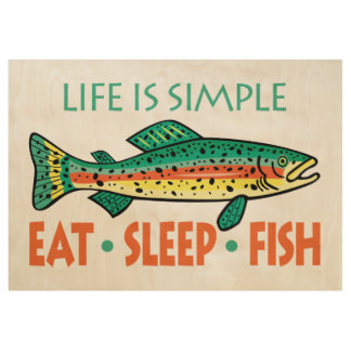 Funny Saying about Fishing Wood Poster