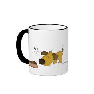 Funny Saying- Puppy with dog-bowl Ringer Coffee Mug