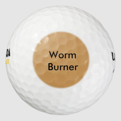 Funny Sayings Golf Balls - Worm Burner