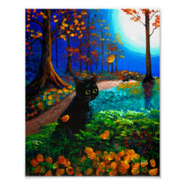 Funny Scardy Cat Fall Halloween Moon Creationarts Poster