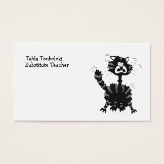 Funny Scared Black Cat Cartoon Halloween Business Card