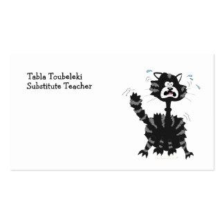 Funny Scared Black Cat Cartoon Halloween Business Card Template