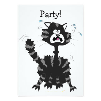Funny Scared Black Cat Cartoon Halloween Card