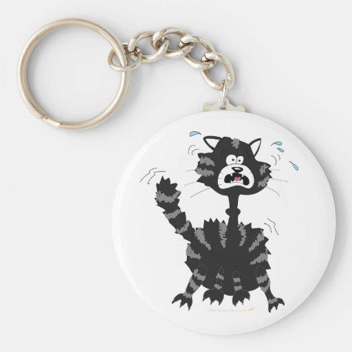 Funny Scared Black Cat Cartoon Halloween Keychains