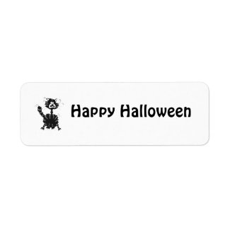 Funny Scared Black Cat Cartoon Halloween Labels label